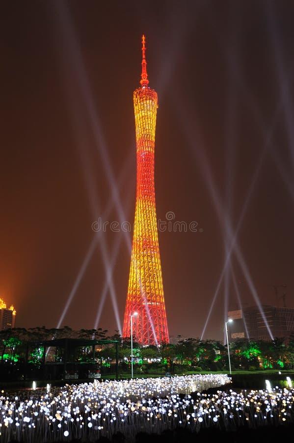 广州塔在晚上 库存照片