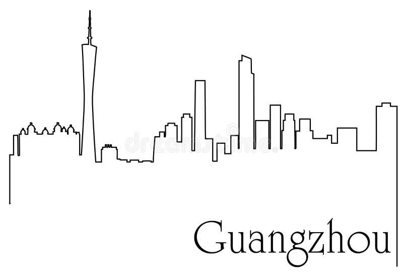 广州市一线描与大都会都市风景的摘要背景 向量例证