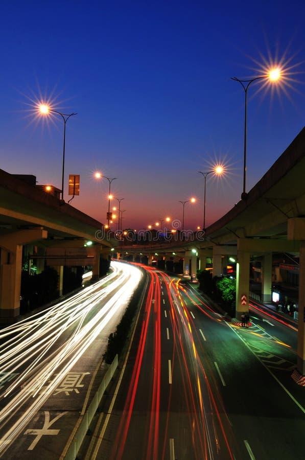 广州晚上路  免版税库存照片