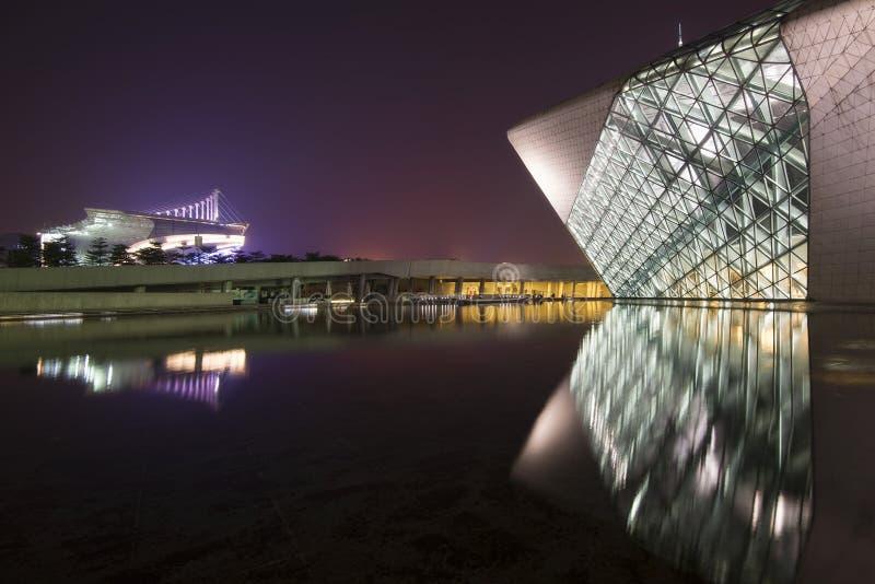 广州歌剧在晚上 库存照片