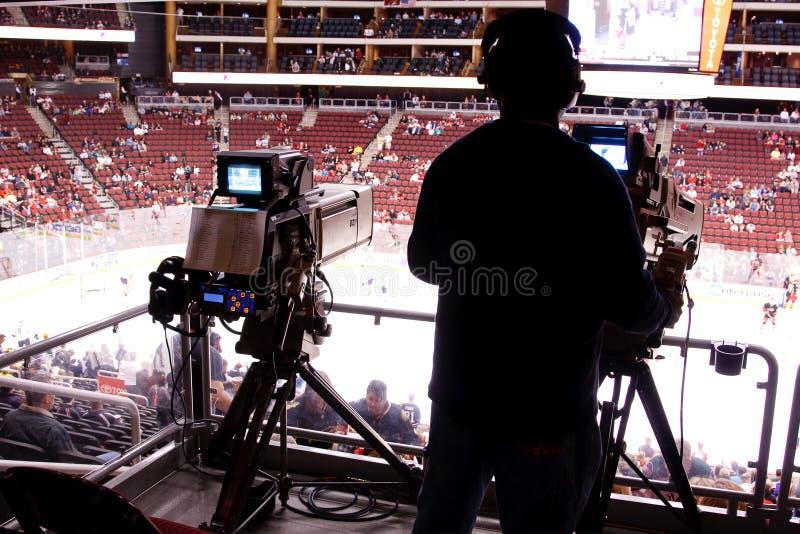 广播照相机比赛曲棍球nhl 库存图片