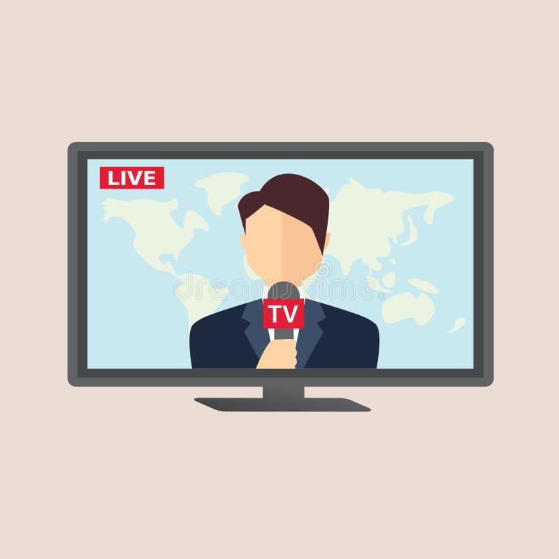 活广播的专业新闻记者 向量例证
