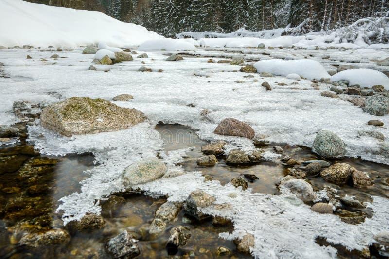 广角关闭河在冬天 用冰和雪和石头盖的流动的水 免版税库存照片