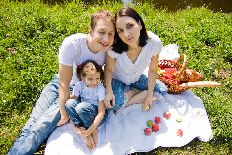 广角家庭的野餐 免版税图库摄影