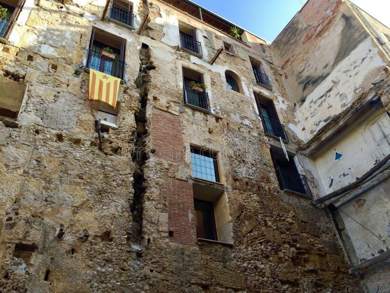 广角Anella OlÃmpica在Montjuïc在巴塞罗那 免版税库存图片