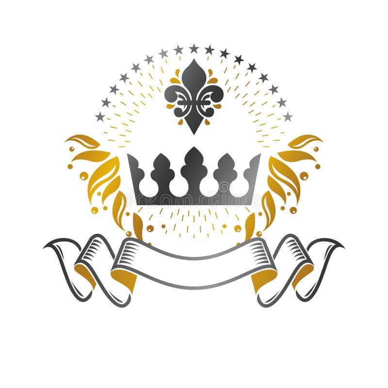 庄严冠象征 纹章学徽章装饰商标被隔绝的传染媒介例证 向量例证