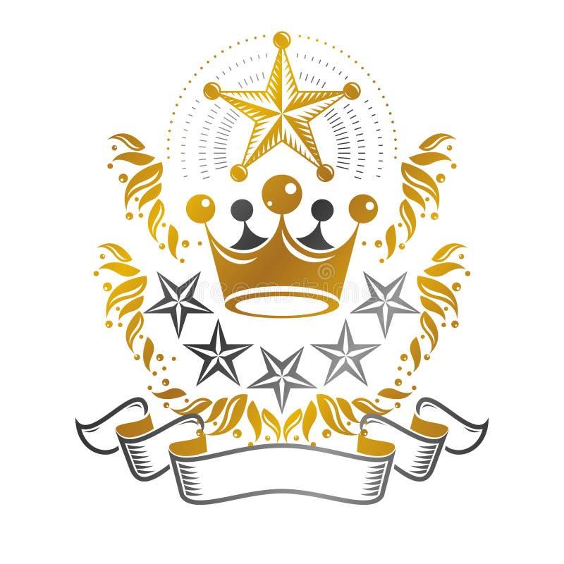 庄严冠象征 纹章学徽章装饰商标被隔绝的传染媒介例证 皇族释放例证