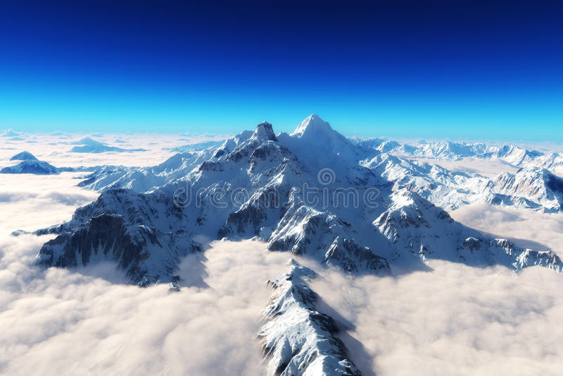 庄严积雪的山 免版税图库摄影