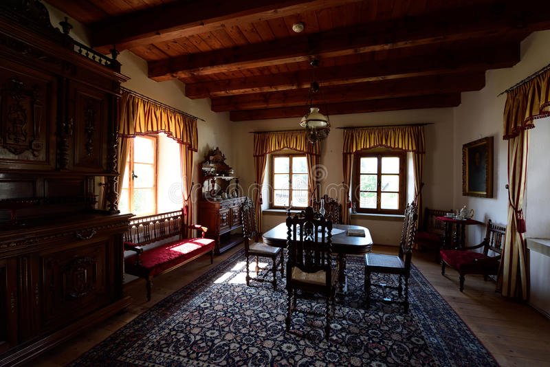 庄园住宅室, Pribylina,斯洛伐克 免版税库存图片