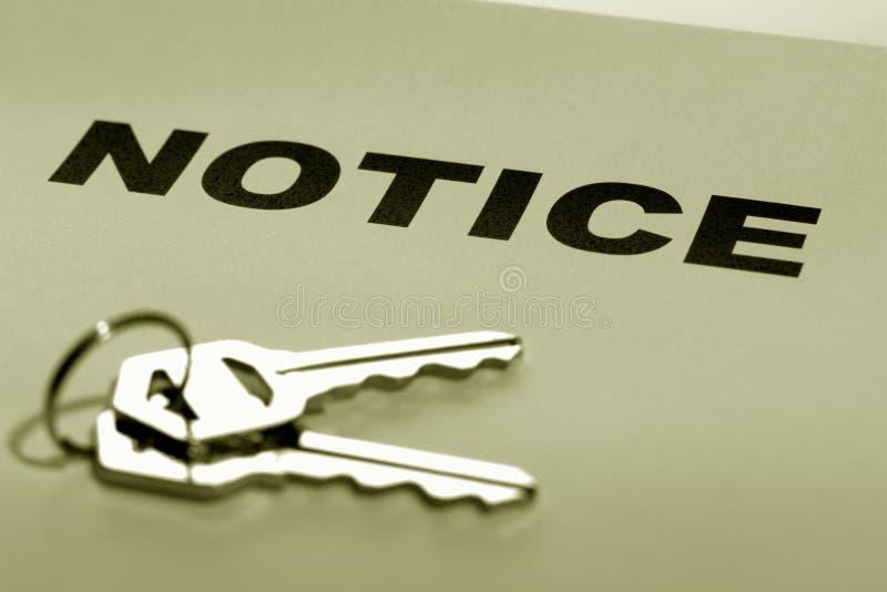 庄园锁上通知单实际集 免版税库存图片