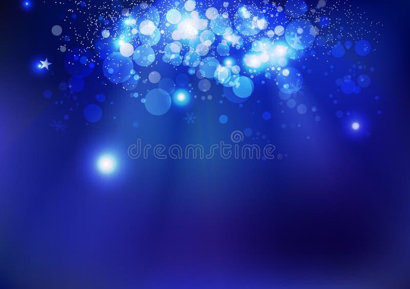 庆祝、蓝色不可思议的冬天星、幻想Bokeh水中和圣诞节发光的闪闪发光消散概念、党和事件 向量例证