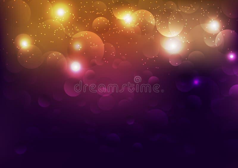 庆祝与紫罗兰,泡影的金光驱散发光的明亮的抽象背景 皇族释放例证