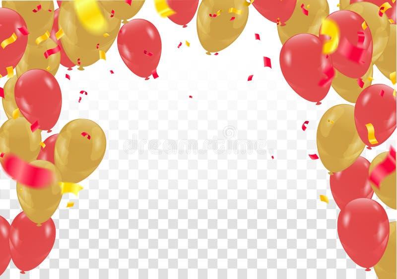 庆祝与金黄气球和桃红色罗斯金蛇纹石的党横幅 库存例证