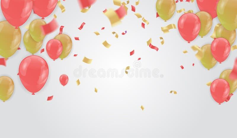 庆祝与金黄气球和桃红色罗斯金蛇纹石的党横幅 皇族释放例证