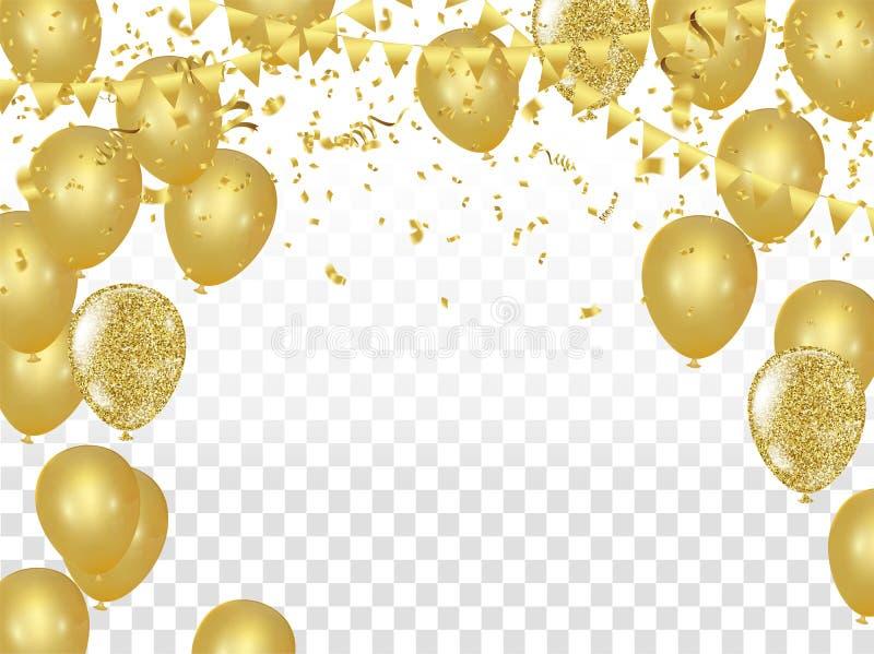 庆祝与金黄气球的党横幅和蜿蜒 向量例证
