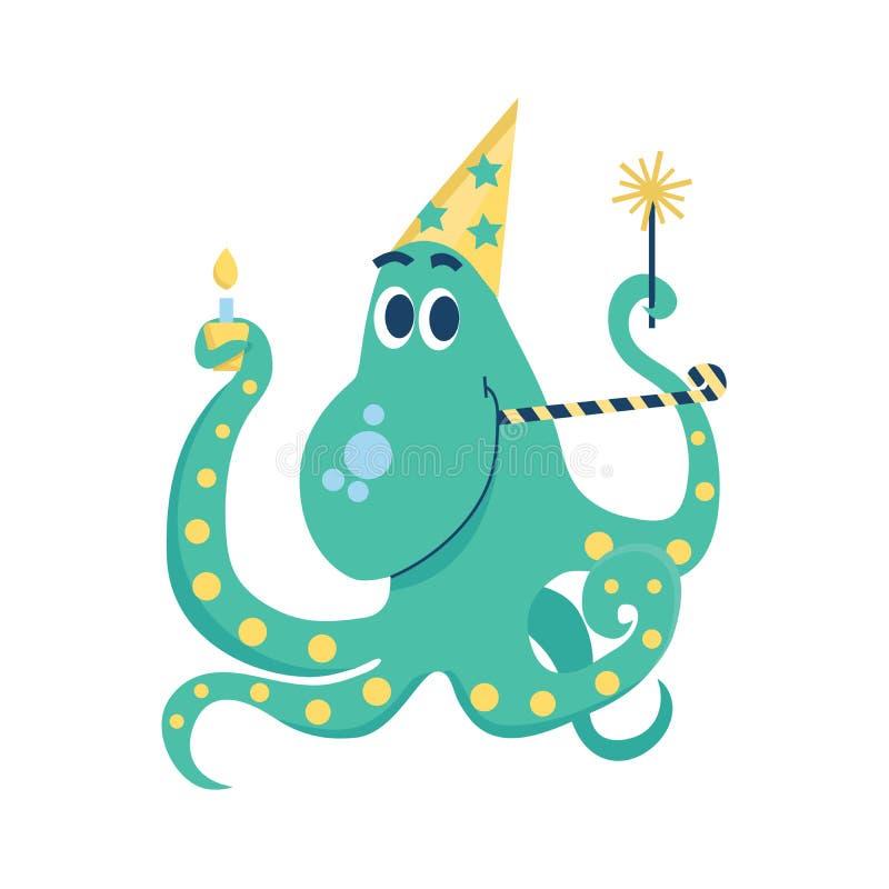 庆祝与闪烁发光物、盖帽、蛋糕与蜡烛和党垫铁的生日快乐章鱼 在白色bac的被隔绝的传染媒介例证 皇族释放例证