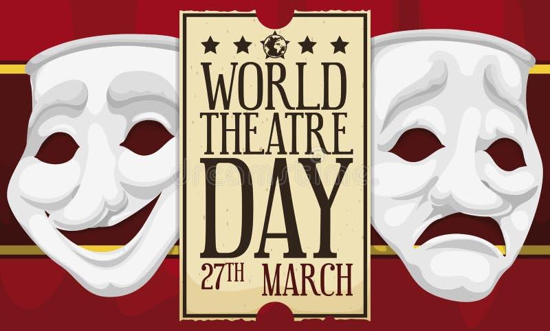 庆祝世界剧院天的帷幕、面具和纪念票,传染媒介例证 皇族释放例证