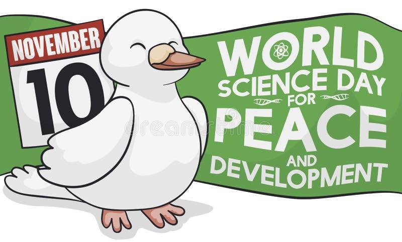 庆祝世界和平和发展的,传染媒介例证的逗人喜爱的鸠科学天 皇族释放例证