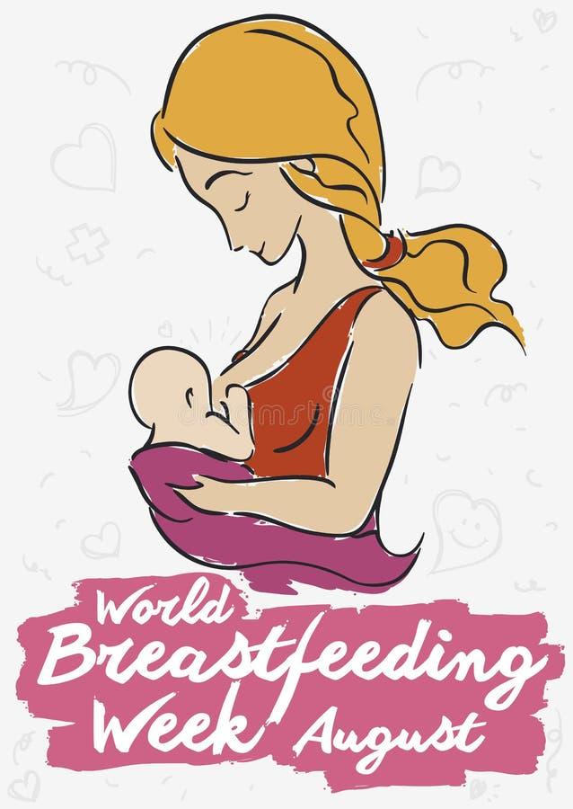 庆祝世界哺乳的星期,传染媒介例证的年轻金发母亲 向量例证