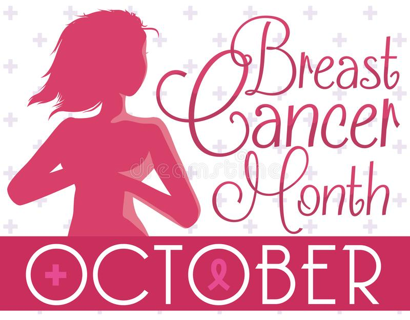 庆祝乳腺癌月,传染媒介例证的美丽的骄傲的妇女剪影 皇族释放例证