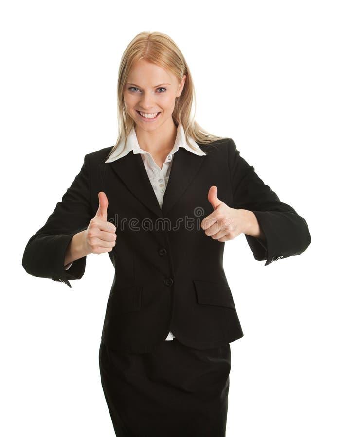 庆祝兴奋成功的女实业家 图库摄影