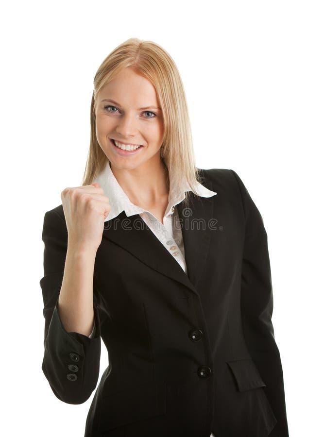 庆祝兴奋成功的女实业家 免版税库存图片
