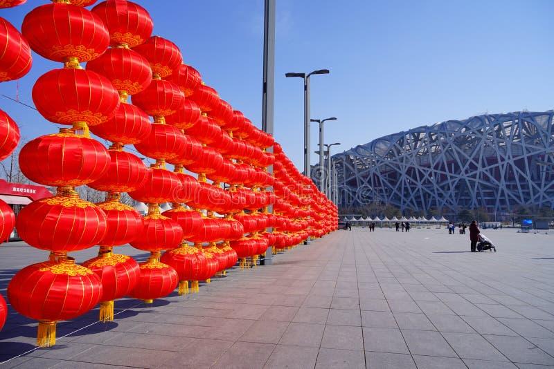 庆祝农历新年的红色灯笼 免版税库存照片