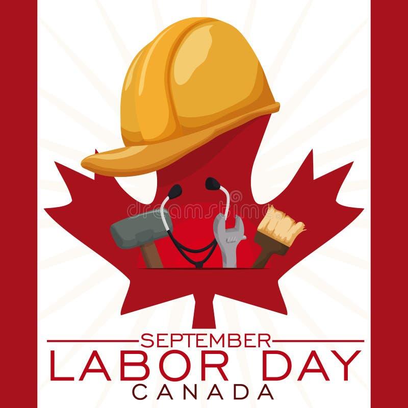 庆祝加拿大人的工作者的设备劳动节,传染媒介例证 向量例证