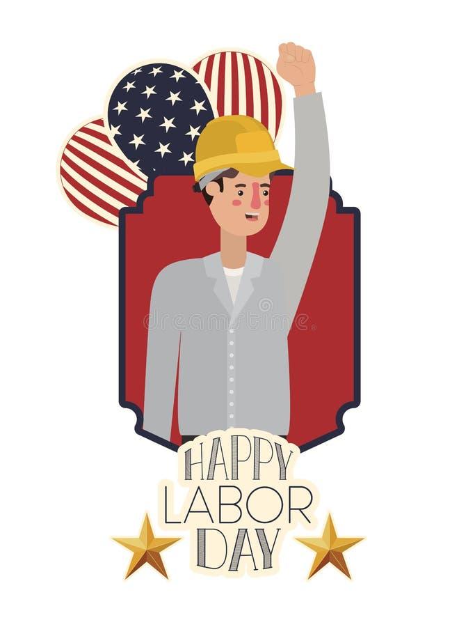 庆祝劳动节具体化字符的人建造者 向量例证
