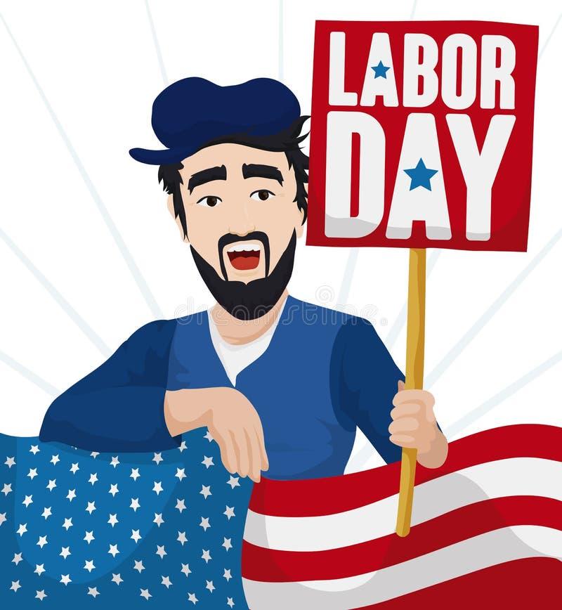 庆祝劳动节,传染媒介例证的工作者人和美国国旗 皇族释放例证