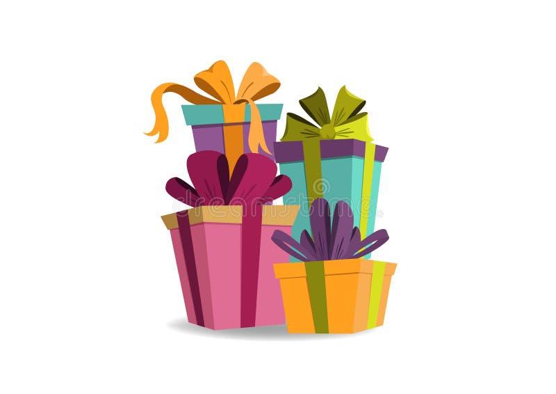 庆祝卡片生日和快活的Xmas礼物盒 皇族释放例证