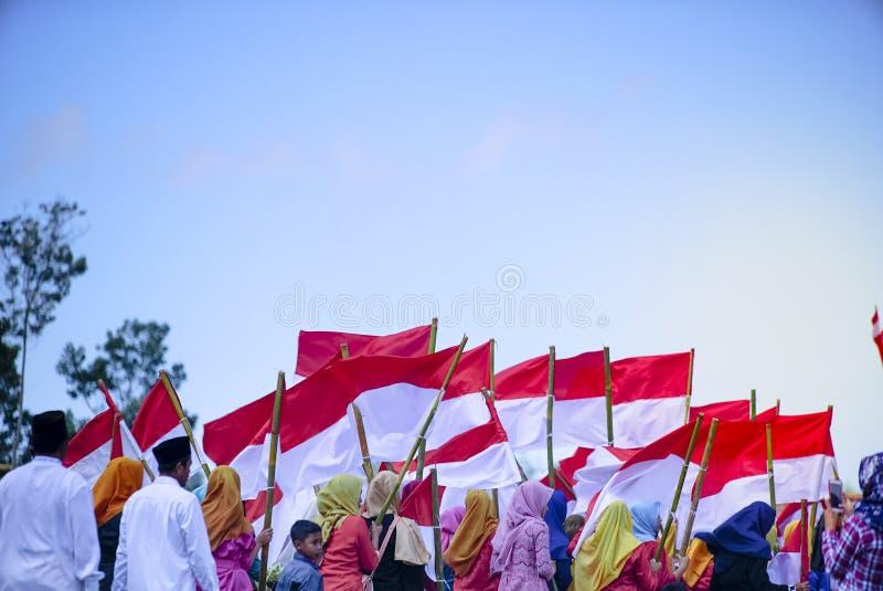 庆祝印度尼西亚独立日的仪式在大包Rante村庄是传统文化在日惹 r 免版税库存照片