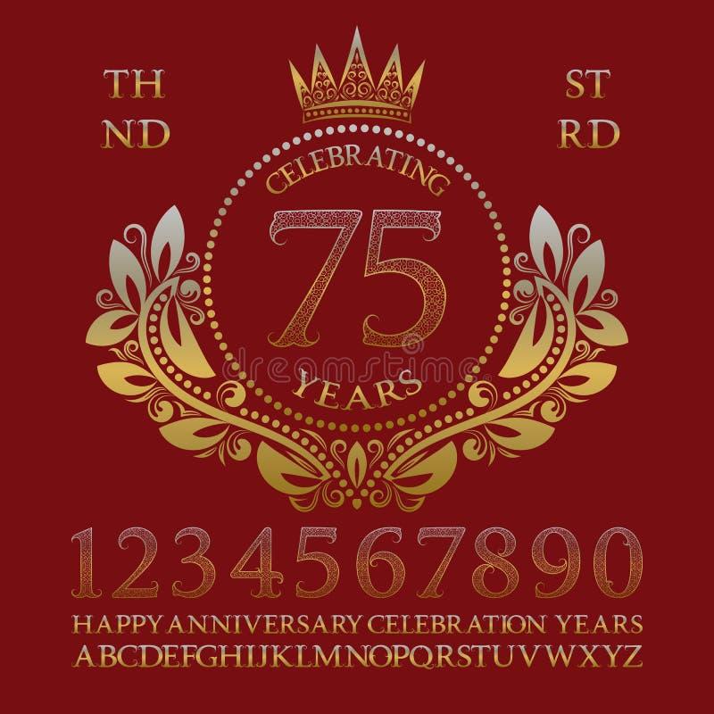 庆祝周年标志成套工具 金黄数字、字母表、框架和有些词创造的庆祝象征 皇族释放例证