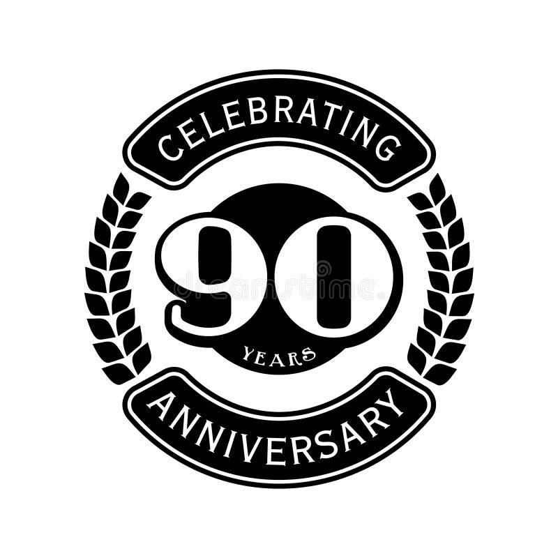 庆祝周年设计模板的90年 第90个商标 r 库存例证
