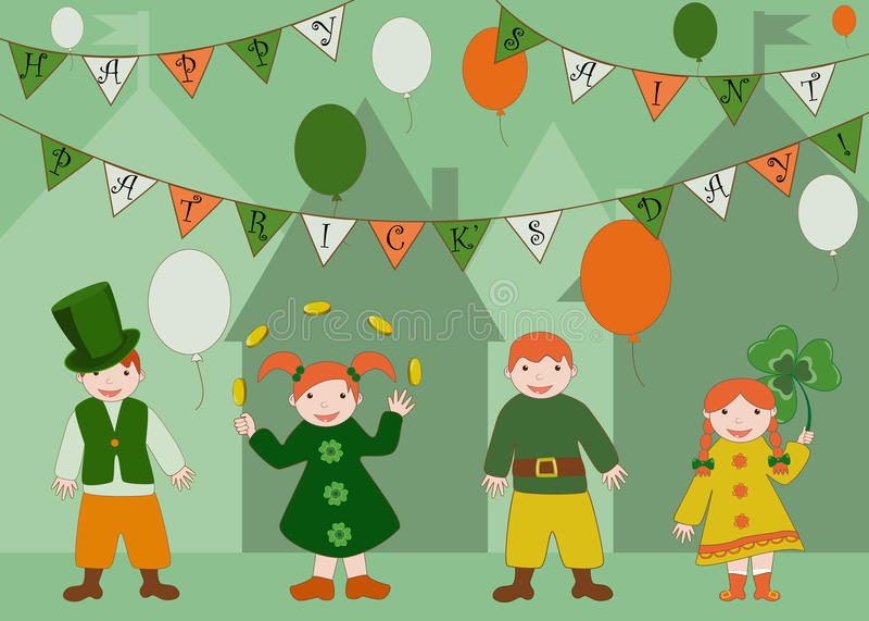 庆祝圣徒Patricks天的逗人喜爱的孩子 免版税图库摄影