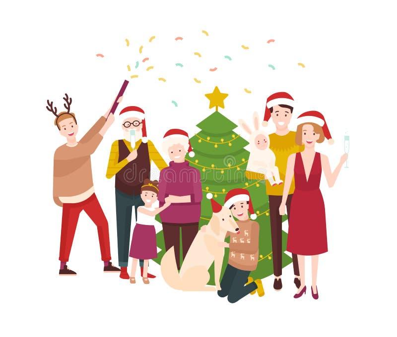 庆祝圣诞节的大愉快的家庭 站立在云杉的树附近的圣诞老人帽子的微笑的动画片人民装饰  向量例证