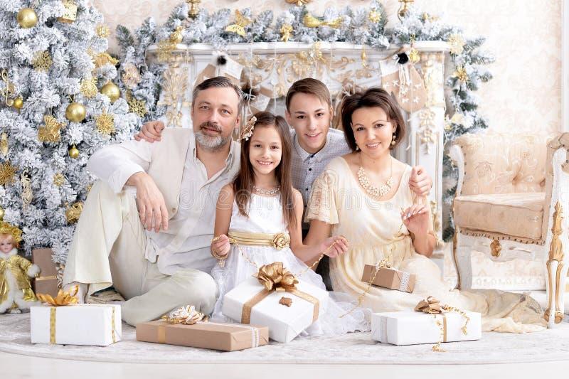 庆祝圣诞节的逗人喜爱的幸福家庭画象 免版税库存图片