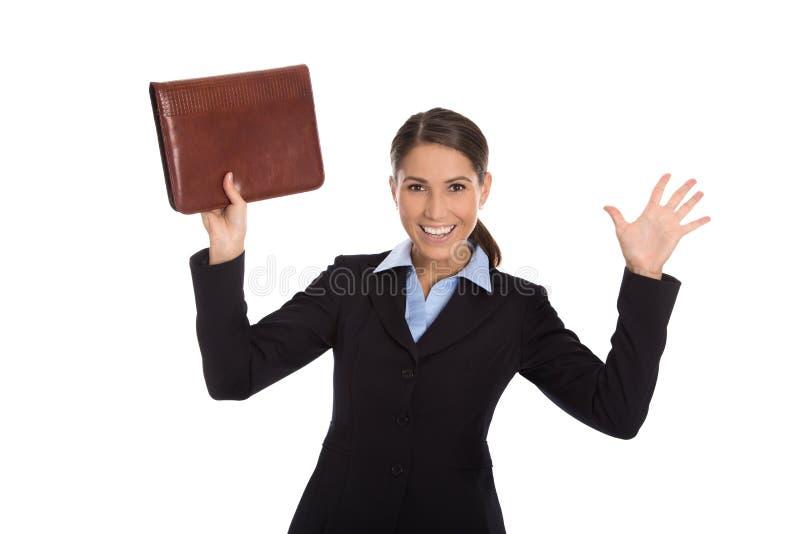 庆祝在白色的被隔绝的愉快的成功的女商人 免版税库存图片