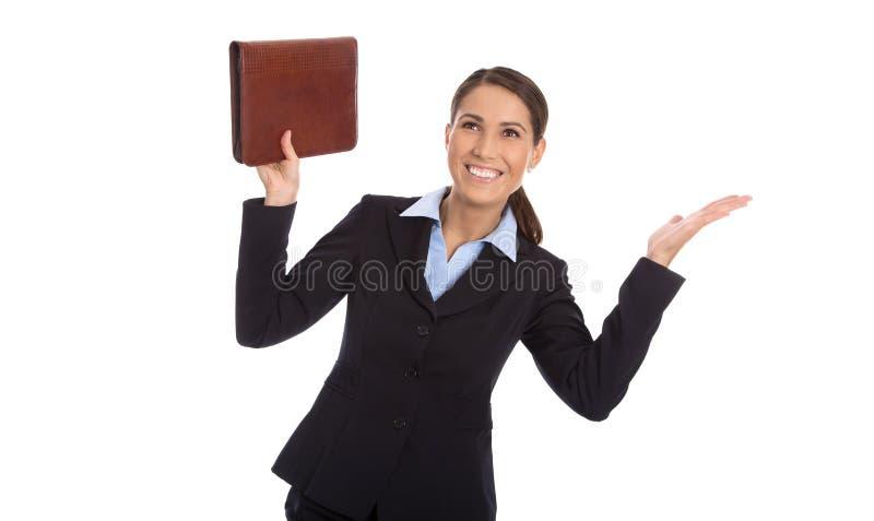 庆祝在白色的被隔绝的愉快的成功的女商人 库存照片