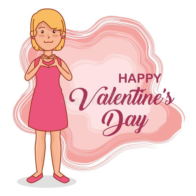 庆祝愉快的情人节的妇女 向量例证