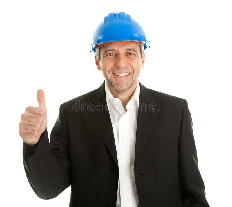 庆祝愉快的成功的建筑师 免版税库存图片