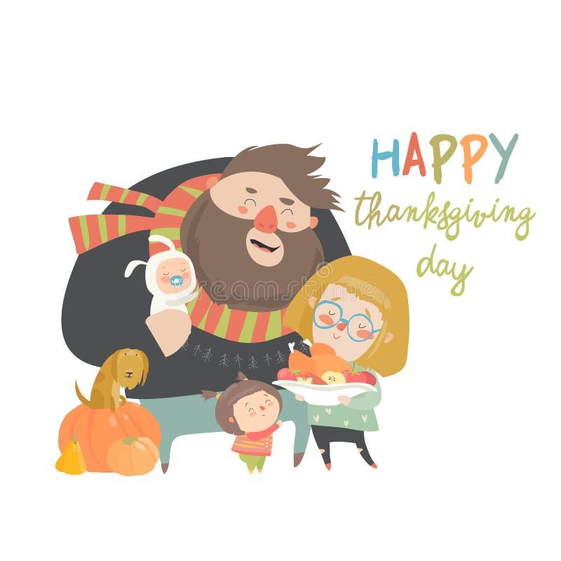 庆祝感恩节的动画片幸福家庭的传染媒介例证 库存例证