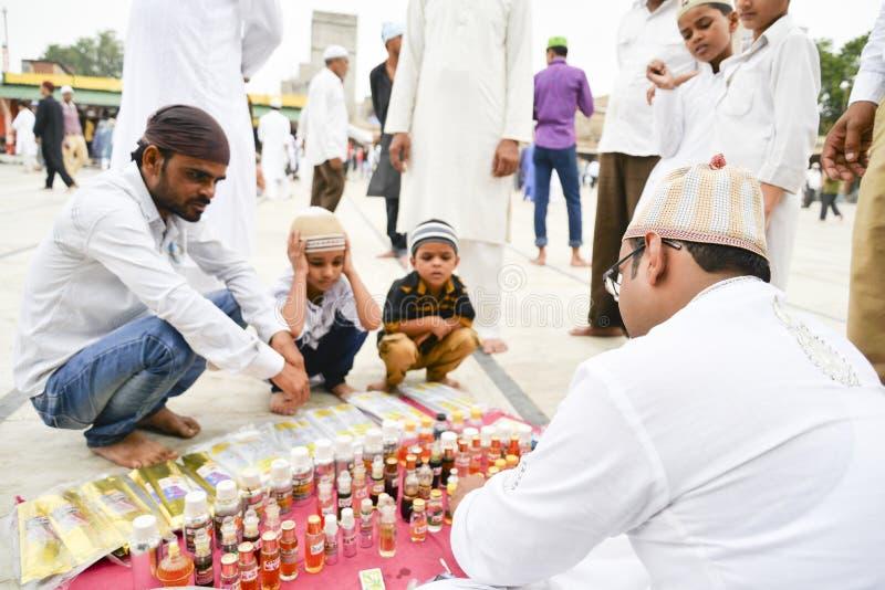 庆祝指示月的结束赖买丹月的Eid AlFitr的穆斯林 库存图片