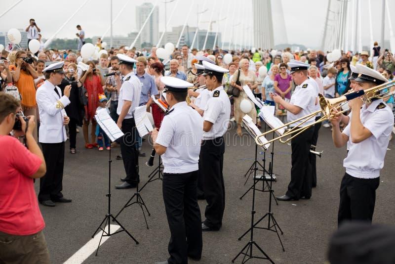 庆祝桥梁的空缺数目在Vladivost的 图库摄影