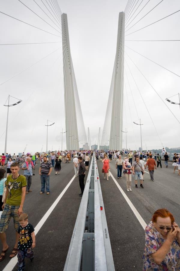 庆祝桥梁的空缺数目在Vladivost的 免版税图库摄影