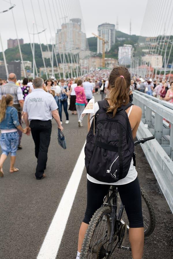 庆祝桥梁的空缺数目在Vladivost的 免版税库存图片