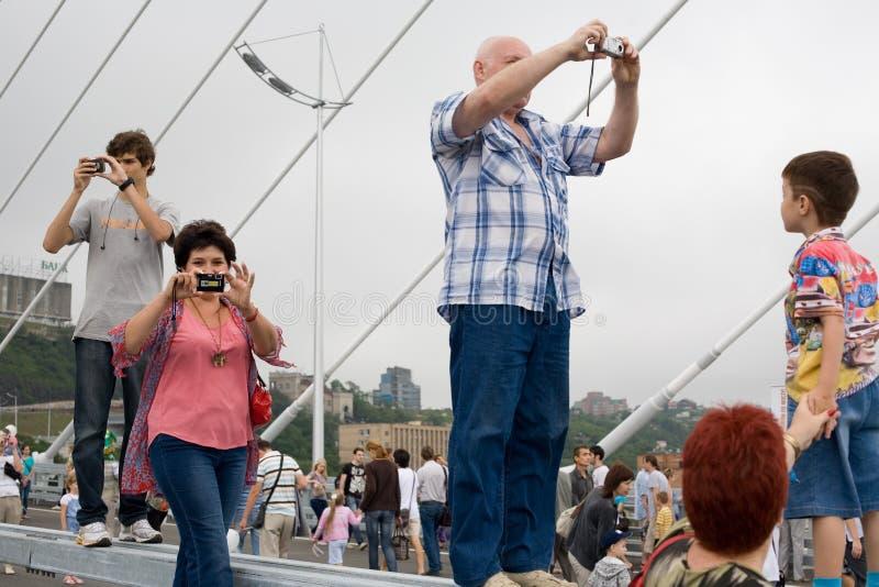 庆祝桥梁的空缺数目在Vladivost的 库存照片