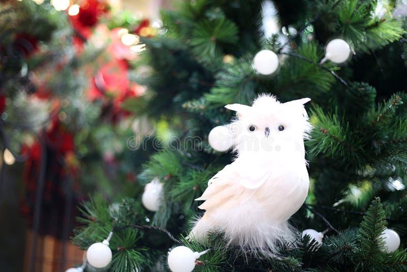 庆祝概念查出的白色 在圣诞树的与增殖比的鸟和球 库存照片
