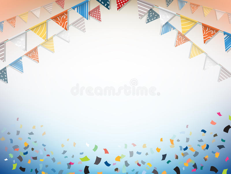 庆祝横幅 与五彩纸屑的党旗子 向量 向量例证