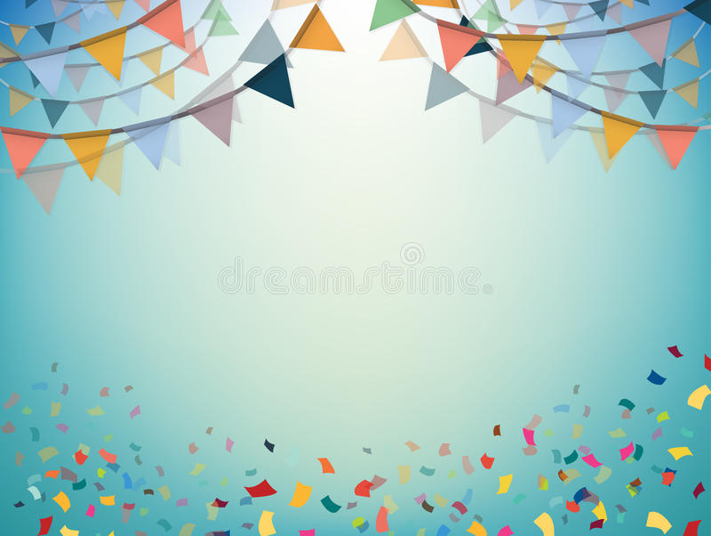 庆祝横幅 与五彩纸屑的党旗子 向量 库存例证